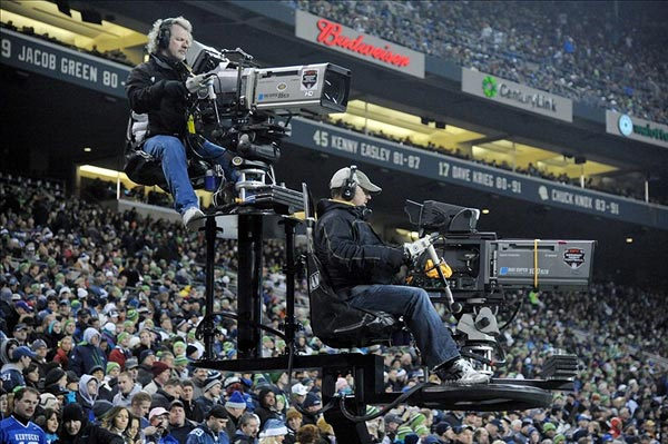 Monday Night Football television cameras for ESPN film